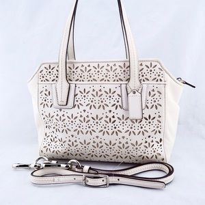 COACH Taylor Ivory Laser Cut Laced Leather Bag